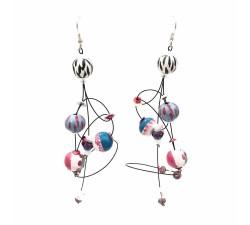 Earrings Ellipse earrings 9 cm - Zebra - Splash Babachic by Moodywood