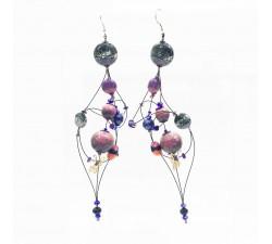 Earrings Duchess earrings 16 cm - Purple - Splash Babachic by Moodywood