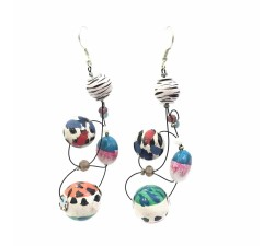 Loop earrings 7 cm - Zebra - Splash