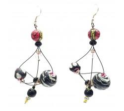 Earrings Rosace earrings 7 cm - Black - Splash Babachic by Moodywood