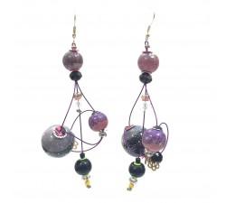 Earrings Rosace earrings 7 cm - Purple - Splash Babachic by Moodywood