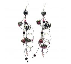 Earrings Torsade earrings 16 cm - Black - Splash Babachic by Moodywood