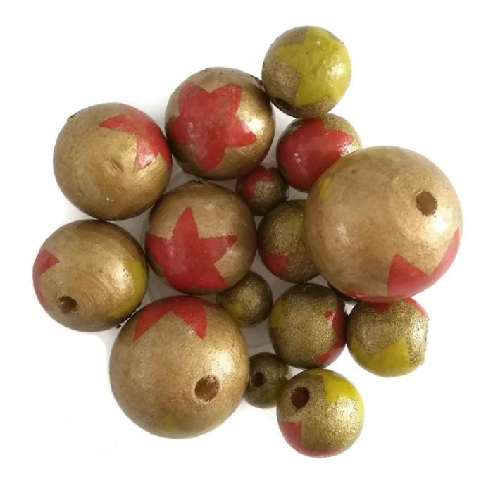 Perles en bois - Etoiles - Doré