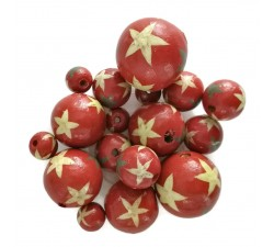 Stars Wooden beads - Stars - Red Babachic by Moodywood