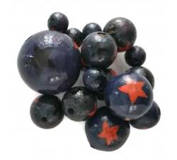 Stars Wooden beads - Stars - Dark blue, orange and black Babachic by Moodywood