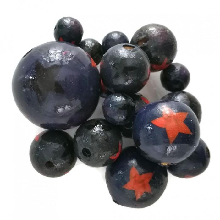 Perles en bois - Etoiles - Bleu foncé, orange et noir