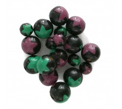 Stars Wooden beads - Stars - Black, green and purple Babachic by Moodywood