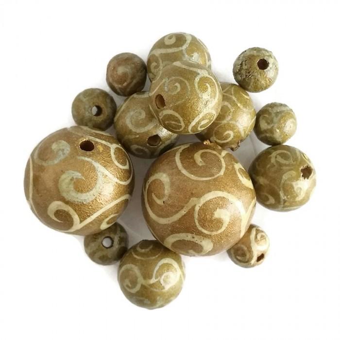 Perles en bois - Spirales - Doré