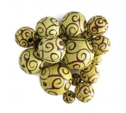 Twirls Wooden beads - Twirls - Yellow and eggplant Babachic by Moodywood