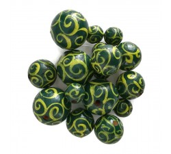 Twirls Wooden beads - Twirls - Yellow and green Babachic by Moodywood
