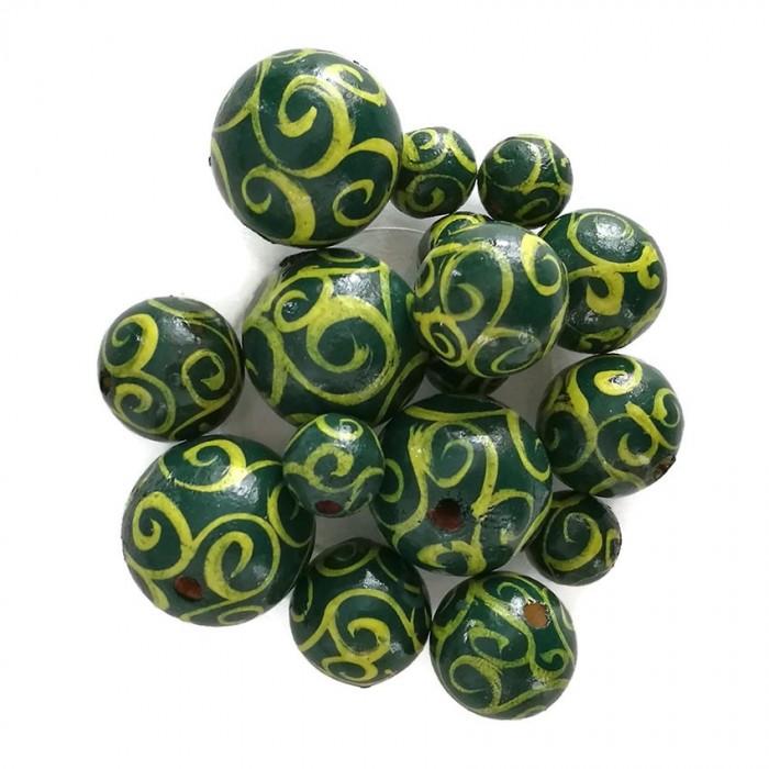 Perles en bois - Spirales - Jaune et vert