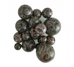 Twirls Wooden beads - Twirls - Eggplant and green Babachic by Moodywood