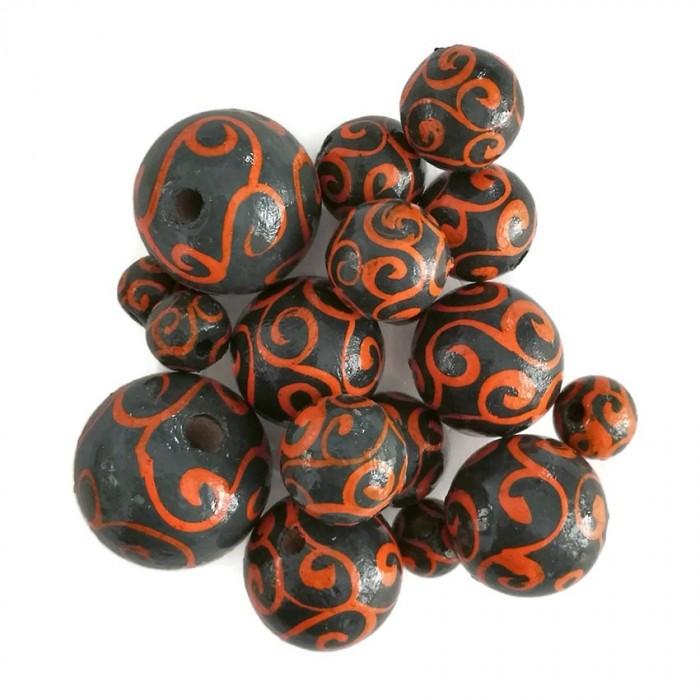 Perles en bois - Spirales - Gris et orange
