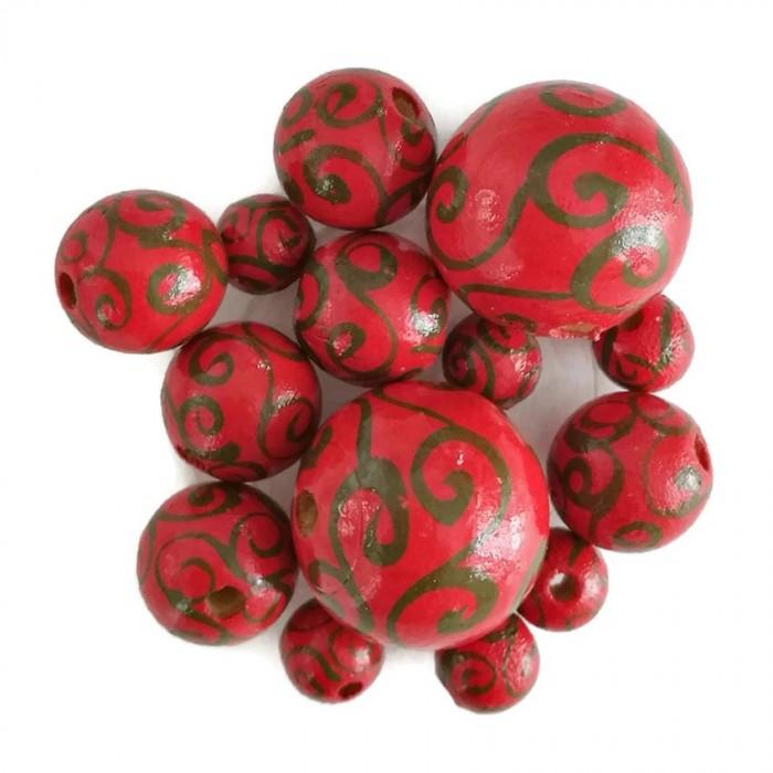 Perles en bois - Spirales - Rouge