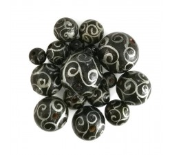 Twirls Wooden beads - Twirls - Black and silver Babachic by Moodywood