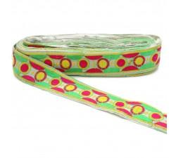 Bordado Bordado gráfico - Cosmos - Rosa, verde y amarillo - 40 mm babachic