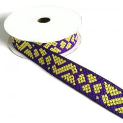Rubans Ruban Tétris - Violet et jaune - 25 mm