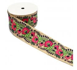 Broderies Broderie vintage - Fleurs roses et vertes - 80 mm
