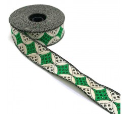 Ribbons Woven ribbon - Galactica - Green and white - 30 mm