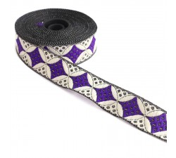 Ribbons Woven ribbon - Galactica - Purple and white - 30 mm