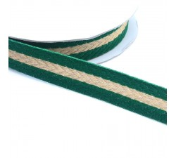 Ribbons Woven braid - Stripes - Pine green and golden - 18 mm babachic