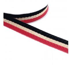 Rubans Galon tissé - Rayures - Rouge, noir et doré - 18 mm babachic