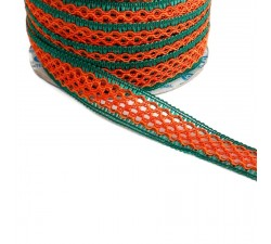 Lace Lace ribbon - Orange and green - 20 mm