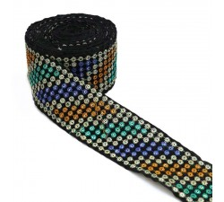 Embroidery Velvet ribbon - Sequins and threads - Blue, yellow, turquoise, silver and black - 55 mm