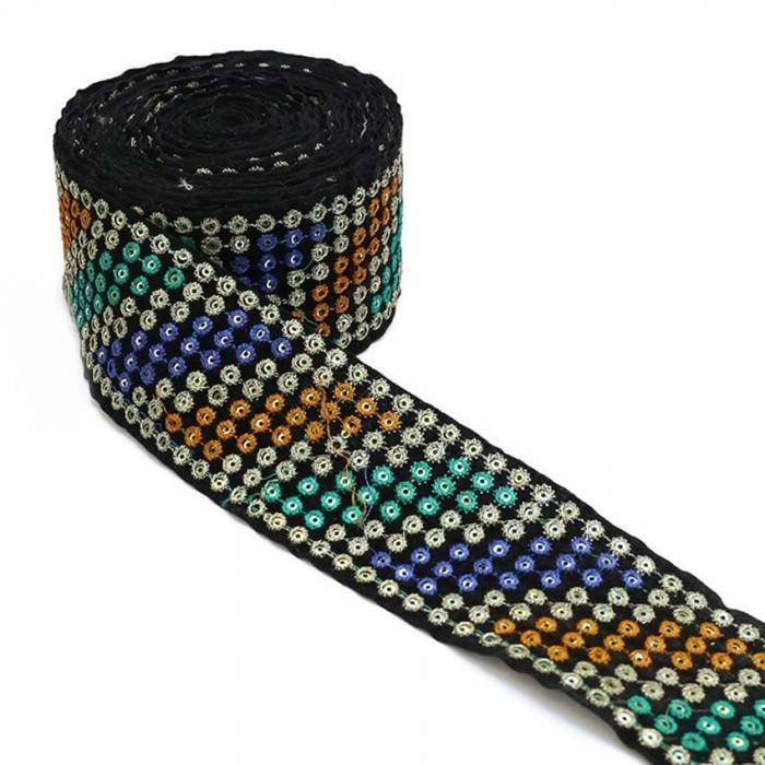 Ruban velours - Sequins et fils - Bleu, jaune, turquoise, argenté et noir - 55 mm