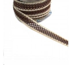Lace Lace ribbon - Brown and beige - 20 mm