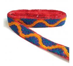 Bordado Bordado Indio - Bohemia - Morado, azul, amarillo y rojo - 45 mm