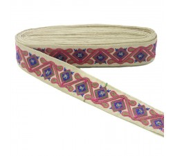 Broderies Passementerie ethnique - Jungle - Rose, marron, vert, bleu et beige - 45 mm