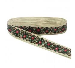 Bordado Pasamanería étnica - Jungla - Negro, rojo, verde, marrón y beige - 45 mm