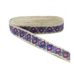 Bordado Pasamanería étnica - Jungla - Azul, rosa, verde, marrón y beige - 45 mm