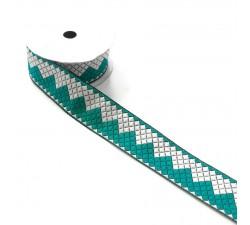 Rubans Ruban Zigzag - Turquoise et blanc - 40 mm babachic
