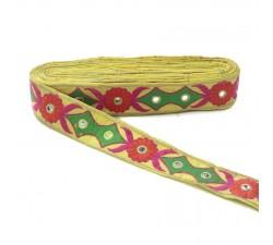 Bordado Bordado étnico - Tribal - Verde, rosa, naranja, amarillo y dorado - 40 mm babachic