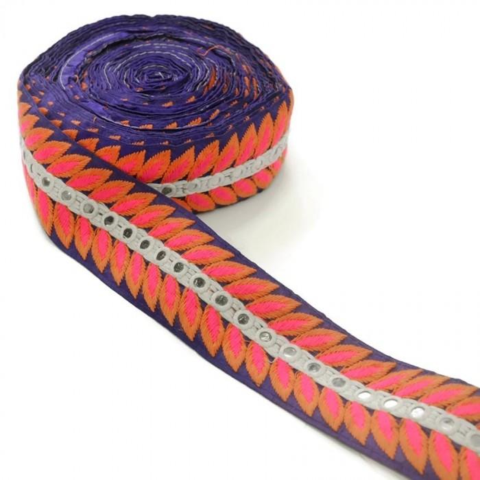 Bordado Indio - César - Naranja, rosa, blanco y azul - 60 mm