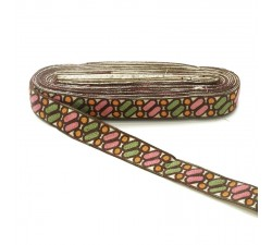Embroidery Ethnic embroidery - Dragibus - Brown, green, pink and orange - 30 mm babachic