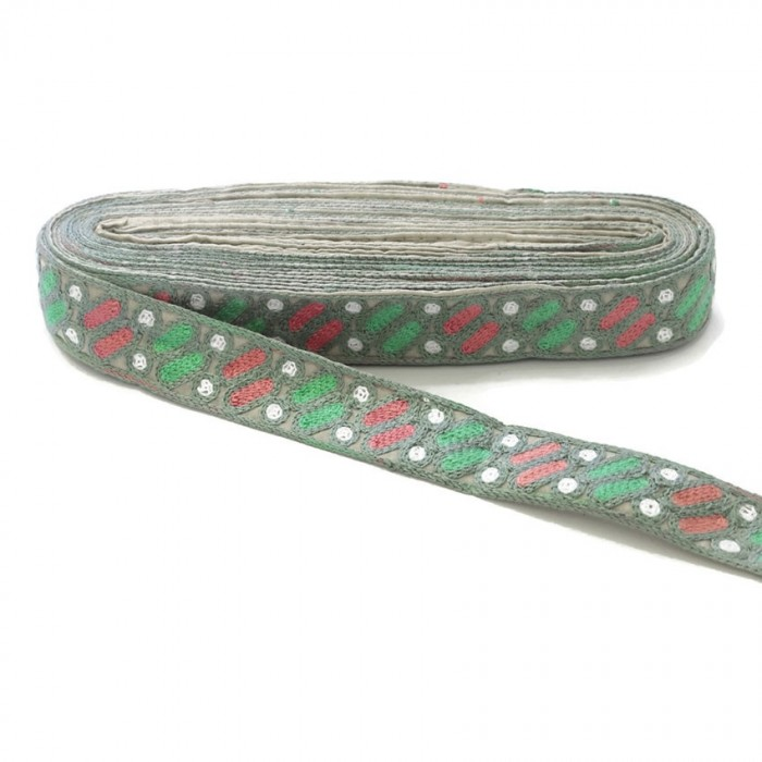 Ethnic embroidery - Dragibus - Grey, green, pink and white - 30 mm