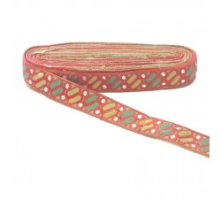 Embroidery Embroidery Dragibus - Pink, yellow, green and white - 30 mm babachic