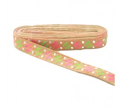 Bordado Broderie Dragibus - Saumon, rose et vert - 30 mm babachic