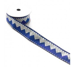 Aztec satined - Blue and white ribbon - Babachic/Moodywood - 40 mm