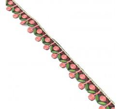 Bordado Bordado - Guirnalda de cereza - Rosa, caqui y burdeos - 25 mm babachic