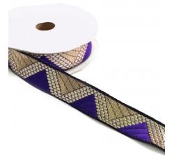 Rubans Ruban graphique - Delta - Violet et doré - 20 mm babachic