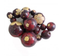 Flowers Wooden beads - Ballerina - Plum