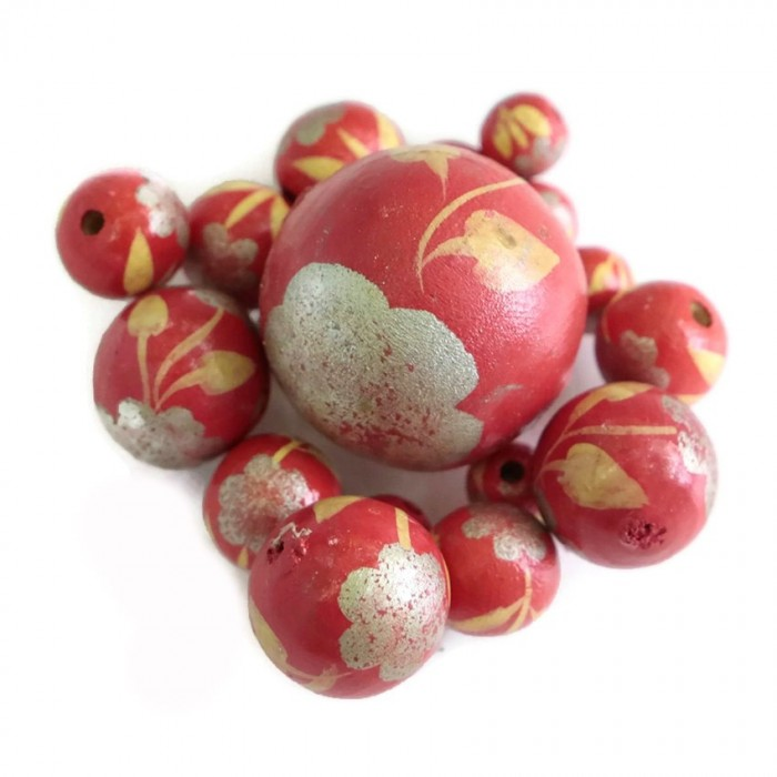 Perle en bois - Peltée - Rouge et argenté