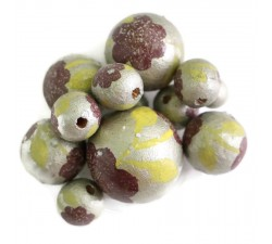 Flowers Wooden beads - Peltée - Silver Babachic by Moodywood