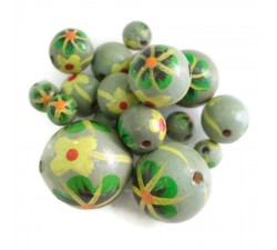 Flowers Wooden beads - Dalia - Grey green Babachic by Moodywood
