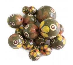 Perle en bois fleur - Bouton - Jaune et kaki