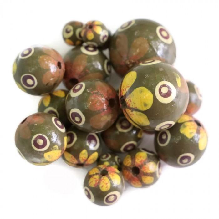 Cuentas de madera de flor - Petalo punto - Amarillo y caqui